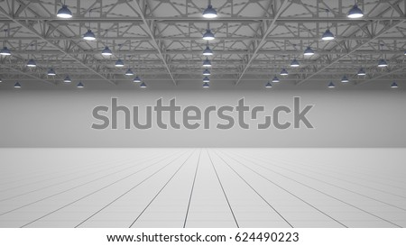 Empty exhibition centre. background for visualization of exhibition stands. Front view. 3d render