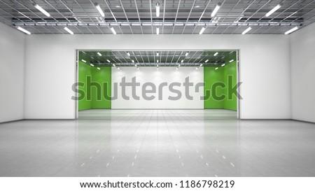 Empty exhibition hall. 3d illustration