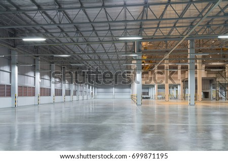 Empty factory building or warehouse building with concrete floor for industry background. #699871195