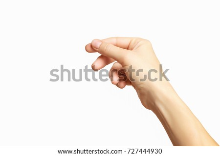 Empty female hand making gesture like holding something isolated at white background. #727444930