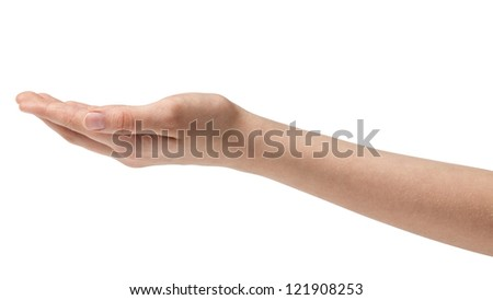 empty female teen hand thumb side isolated on white