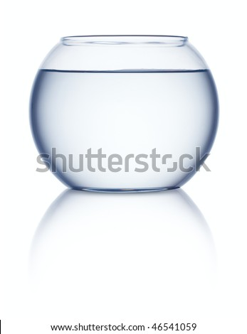Empty fish bowl with water on white background - stock photo
