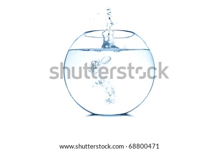 Empty fish bowl with water splash on white background