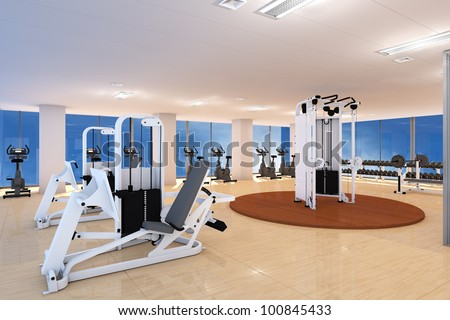 Empty fitness center with different training equipment - stock photo