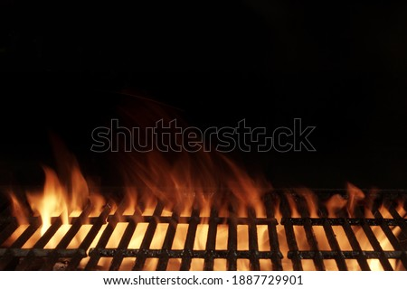 Empty Flaming BBQ Charcoal Grill, Closeup. Hot Barbeque Grill Ready Cooking Food On Cast Iron Grate. Concept For Cookout, Barbecue Party At Garden Or Backyard. Grill With Bright Flames Black Isolated.