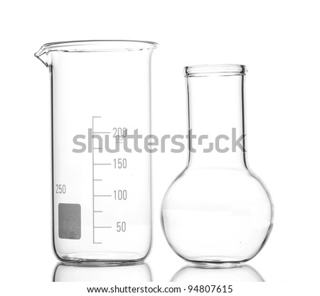 Empty flask and beacker with reflection isolated on white