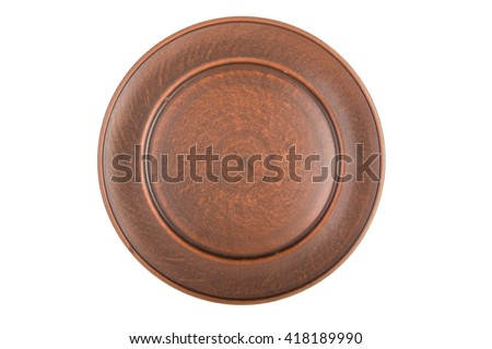 empty flat plate of red clay, isolated, top view #418189990