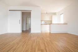 empty flat with wooden beech flooring