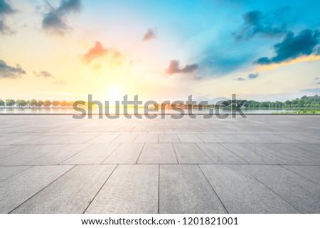 Empty floor and beautiful west lake scenery in hangzhou #1201821001