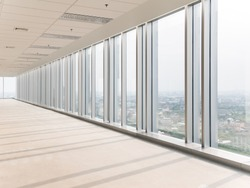 empty floor and cityscape of modern city from window, Large Hall, Store, interior,Lab, perspective wide angle.