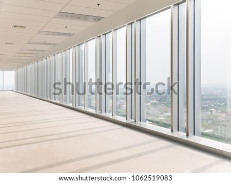empty floor and cityscape of modern city from window, Large Hall, Store, interior,Lab, perspective wide angle. #1062519083