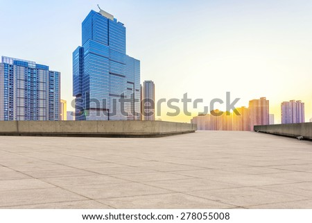 Empty floor and modern building with sunbeam #278055008