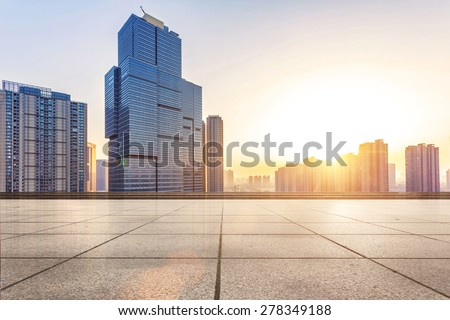 Empty floor and modern building with sunbeam #278349188
