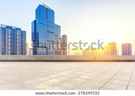 Empty floor and modern building with sunbeam #278349332