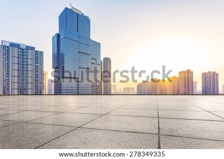 Empty floor and modern building with sunbeam #278349335