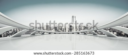 Empty floor and modern city skyline.The futuristic view deck structure is created with C4D by contributor. #285163673
