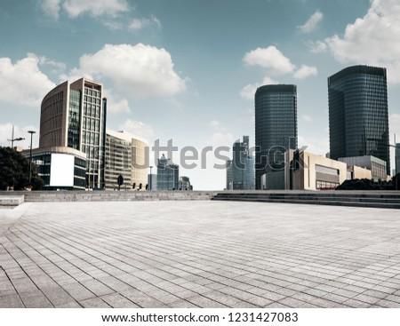 empty floor front of modern building #1231427083