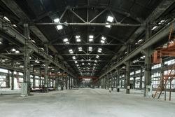 Empty floor in abandoned factory.