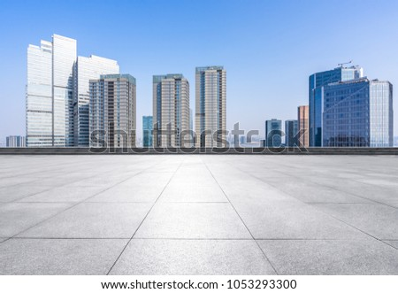 empty floor or square with panoramic cityscape in hangzhou china #1053293300