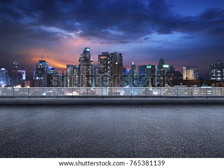 Empty floor platform with night view city skyline background