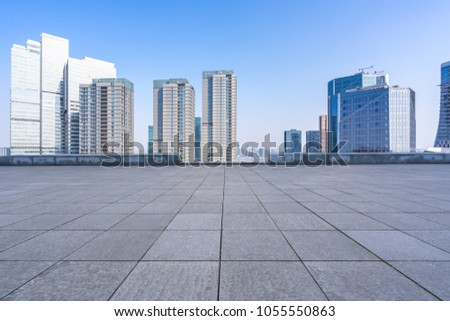 empty floor square with modern building #1055550863