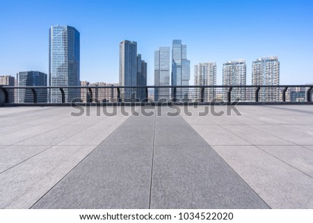 empty floor with modern building