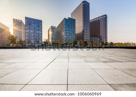 Empty floor with modern business office building   #1006060969