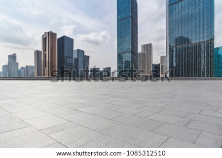 Empty floor with modern business office building   #1085312510