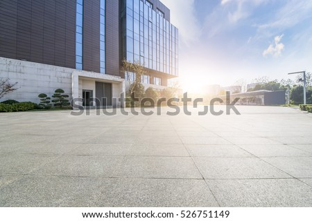 Empty floor with modern business office building