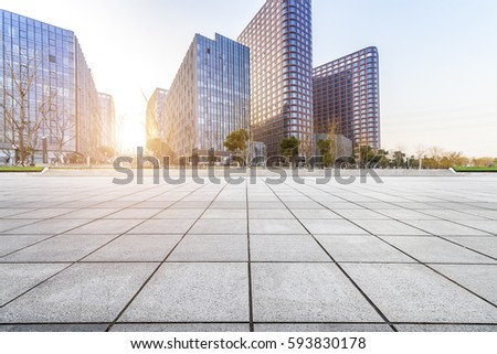 Empty floor with modern business office building  #593830178