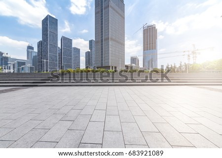 Empty floor with modern business office building   #683921089