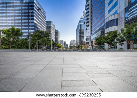 Empty floor with modern business office building   #695230255