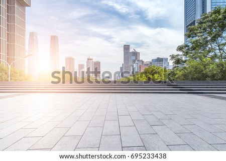 Empty floor with modern business office building   #695233438
