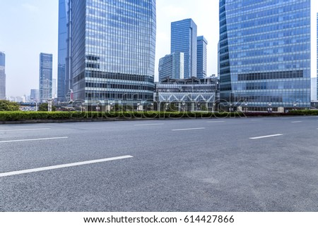 Empty floor with modern business office building in shanghai