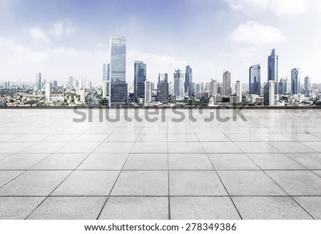 Empty floor with modern skyline and buildings #278349386