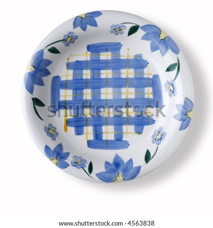 empty flower decorated dish over white background with shadow