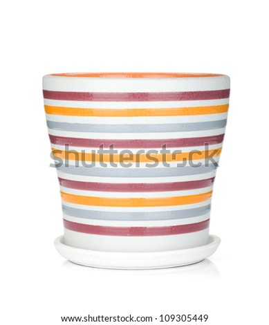 Empty flower pot. Isolated on white background
