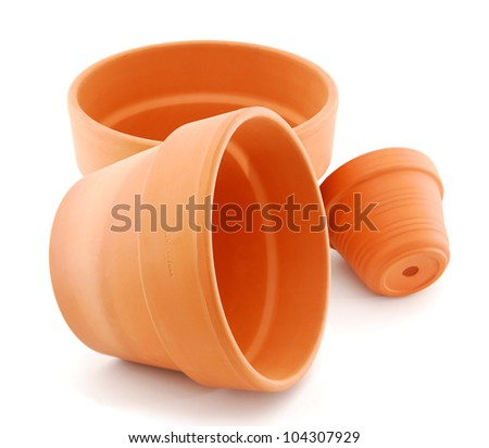 Empty flower pots on white
