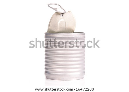 Empty food can over white background