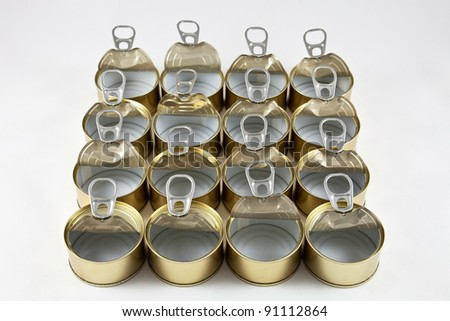 empty food cans - stock photo
