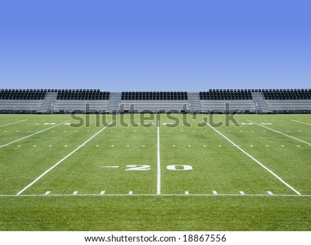 Empty football field - stock photo