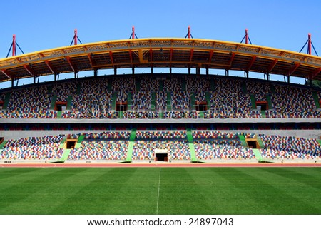empty football stadium - stock photo