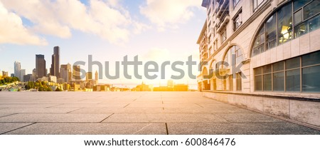 empty footpath and cityscape of modern city
