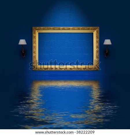 empty frame and sconces in flood blue minimalist interior