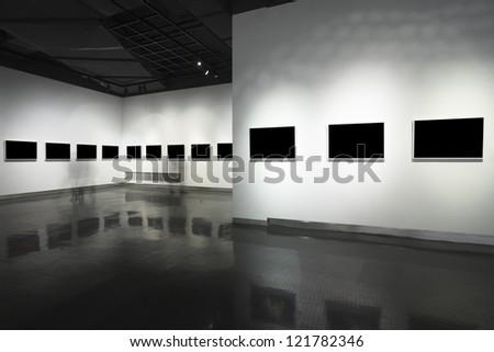 empty frame in art museum - stock photo