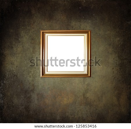 Empty frame on grunge room wall