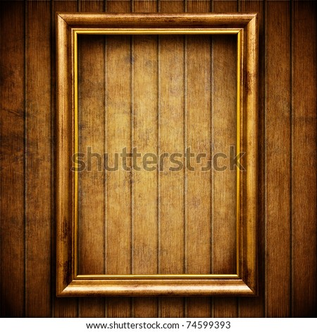 Empty frame on wall - stock photo