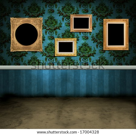 Empty frames hanging on the wall of a dark vintage room