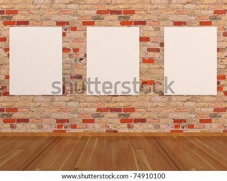 empty frames on brick wall
