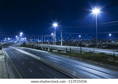 Empty freeway at night #113935036